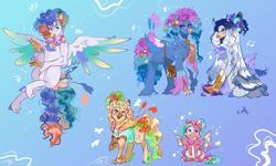 Size: 2000x1200 | Tagged: safe, artist:bunnari, oc, oc only, oc:blue lemonade, oc:bubble piñata, oc:jelly fishbowl, oc:polaris party, oc:seafoam bliss, classical hippogriff, hippogriff, hybrid, female, interspecies offspring, magical lesbian spawn, male, offspring, parent:pinkie pie, parent:princess skystar, parents:skypie, princessverse