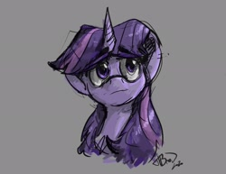 Size: 1920x1484   Tagged: safe, artist:th3ipodm0n, twilight sparkle, pony, bust, eyebrows visible through hair, female, full face view, looking away, looking up, mare, portrait, simple background, solo