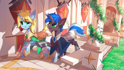 Size: 2500x1406 | Tagged: safe, artist:redchetgreen, oc, oc only, oc:art's desire, oc:lock down, pony, unicorn, academy, armor, clothes, duo, open mouth, outdoors, scenery, stallion