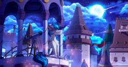 Size: 2015x1054 | Tagged: safe, artist:redchetgreen, oc, oc only, pony, building, full moon, male, moon, sitting, smiling, solo, stallion, stars, telescope