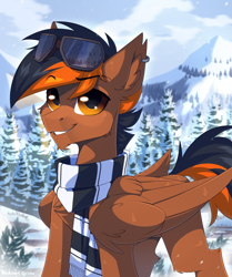 Size: 1400x1676 | Tagged: safe, artist:redchetgreen, oc, oc only, pegasus, pony, cute, goggles, handsome, male, scenery, scenery porn, smiling, snow, solo, stallion, tree