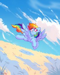 Size: 1788x2236 | Tagged: safe, artist:mirtash, rainbow dash, pegasus, pony, chest fluff, cloud, ear fluff, female, flying, grass, grass field, looking up, mare, outdoors, sky, smiling, solo, spread wings, wings