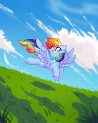 Size: 2000x2500 | Tagged: safe, alternate version, artist:mirtash, rainbow dash, pegasus, pony, chest fluff, cloud, ear fluff, female, flying, grass, grass field, high res, looking up, mare, outdoors, sky, smiling, solo, spread wings, wings
