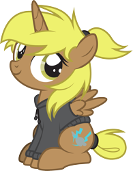 Size: 1589x2042 | Tagged: safe, artist:lightning stripe, derpibooru exclusive, oc, oc:storm cloud, alicorn, pony, brown coat, clothes, commission, cute, cutie mark, female, filly, foal, hoodie, horn, messy mane, ponytail, show accurate, simple background, sitting, solo, tail bun, transparent background, vector, wings, yellow eyes, yellow hair, yellow mane