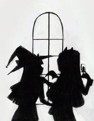 Size: 1645x2114 | Tagged: safe, artist:vilkadvanoli, rarity, twilight sparkle, vampire, equestria girls, alternate universe, female, glass, hat, lesbian, monochrome, rarilight, shipping, silhouette, window, wine glass, witch, witch hat