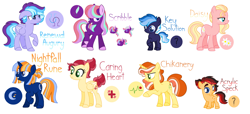 Size: 4720x2156 | Tagged: safe, artist:amazingly-gay-evan, oc, oc only, oc:acrylic speck, oc:caring heart, oc:chikanery, oc:daisy, oc:key solution, oc:nightfall rune, oc:renewal augury, oc:scribble, earth pony, pegasus, pony, unicorn, colt, female, filly, male, mare, next generation, offspring, parent:applejack, parent:big macintosh, parent:flash sentry, parent:flim, parent:fluttershy, parent:quibble pants, parent:rainbow dash, parent:starlight glimmer, parent:sunburst, parent:twilight sparkle, parents:flashlight, parents:flimjack, parents:fluttermac, parents:quibbledash, parents:starburst, simple background, stallion, standardverse, white background