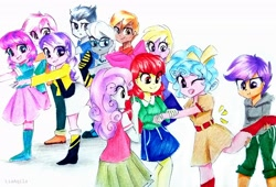 Size: 3414x2322 | Tagged: safe, artist:liaaqila, apple bloom, button mash, cozy glow, diamond tiara, dinky hooves, lily longsocks, ruby pinch, rumble, scootaloo, silver spoon, sweetie belle, equestria girls, :t, a better ending for cozy, adorabloom, apple bloom's bow, belt, boots, bow, buttonbetes, clothes, commission, cozybetes, cute, cutealoo, cutie mark crusaders, denim skirt, diamondbetes, diasweetes, equestria girls-ified, exercise, female, glasses, hair bow, hoodie, jacket, jeans, jewelry, male, necklace, older, older apple bloom, older button mash, older cmc, older cozy glow, older diamond tiara, older dinky hooves, older lily longsocks, older ruby pinch, older rumble, older scootaloo, older silver spoon, older sweetie belle, one eye closed, open mouth, pants, pinchybetes, rumblebetes, shirt, shoes, silverbetes, simple background, skirt, sneakers, socks, struggling, sweatpants, t-shirt, tanktop, traditional art, white background, yoga