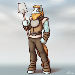 Size: 2000x2000 | Tagged: safe, artist:ohemo, rockhoof, anthro, earth pony, unguligrade anthro, atg 2020, looking at you, male, newbie artist training grounds, shovel, solo