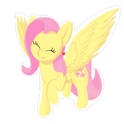 Size: 1800x1800 | Tagged: safe, artist:ponyxwright, fluttershy, pegasus, pony, cute, eyes closed, female, floating heart, happy, heart, mare, newbie artist training grounds, raised hoof, shyabetes, simple background, solo, spread wings, transparent background, white outline, wings