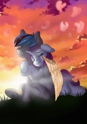 Size: 848x1200   Tagged: safe, artist:manifest harmony, oc, oc only, pegasus, unicorn, amputee, artificial wings, augmented, prosthetic limb, prosthetic wing, prosthetics, wings