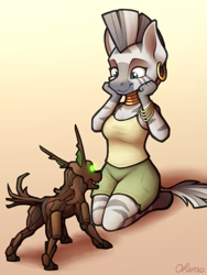 Size: 1500x2000 | Tagged: safe, artist:ohemo, zecora, anthro, timber wolf, unguligrade anthro, zebra, armband, atg 2020, clothes, cute, ear piercing, earring, encounter, female, jewelry, kneeling, mare, neck rings, newbie artist training grounds, piercing, puppy, shorts, smiling, tanktop, zecorable