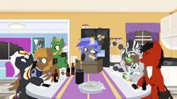 Size: 3260x1820 | Tagged: safe, artist:aaronmk, oc, oc only, oc:applesnack, oc:calamity, oc:homage, oc:littlepip, oc:red eye, oc:velvet remedy, oc:xenith, earth pony, pegasus, pony, unicorn, zebra, fallout equestria, alcohol, alternate universe, beer, blushing, bottle, cookie, dice, dungeons and dragons, eyes closed, fanfic, fanfic art, female, food, glowing horn, hooves, horn, kitchen, levitation, magic, male, mare, night, ogres and oubliettes, open mouth, pen and paper rpg, plates, poster, refrigerator, rpg, scene, sitting, stallion, table, telekinesis, vape, vape pen, vector, window, wings