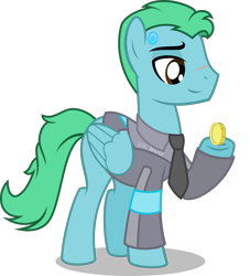 Size: 1431x1577 | Tagged: safe, artist:stellardusk, oc, oc:azure glide, android, pegasus, robot, clothes, coin, commission, connor, cosplay, costume, detroit: become human, pegasus oc, rk800, scar, simple background, transparent background, vector, wings