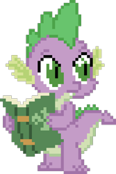 Size: 320x480 | Tagged: safe, artist:nopony, spike, dragon, bridle gossip, atg 2020, book, male, newbie artist training grounds, pixel art, simple background, solo, transparent background