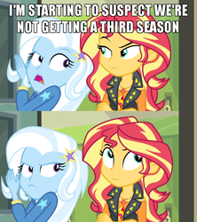 Size: 640x720 | Tagged: safe, edit, edited screencap, screencap, sunset shimmer, trixie, equestria girls, equestria girls series, forgotten friendship, captain obvious, caption, comic, image macro, meme, meta, no shit sherlock, screencap comic, smiling, smirk, text, the end of equestria girls, trixie yells at everything
