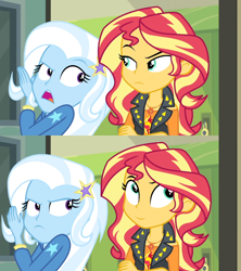 Size: 640x720 | Tagged: safe, edit, edited screencap, screencap, sunset shimmer, trixie, equestria girls, equestria girls series, forgotten friendship, caption, comic, image macro, meme, screencap comic, smiling, smirk, template, trixie yells at everything
