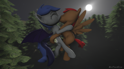 Size: 1280x720 | Tagged: safe, alternate version, artist:batponyecho, oc, oc only, oc:dusty, oc:echo, bat pony, pegasus, pony, 3d, bat pony oc, bat wings, commission, cutie mark, eyes closed, female, flying, forest, kissing, male, mare, moon, night, oc x oc, shipping, source filmmaker, spread wings, straight, tail, tree, wings, ych result