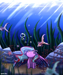 Size: 2500x3000 | Tagged: safe, artist:spirit-fire360, oc, oc:star beats, fish, pegasus, starfish, bubble, chibi, commission, coral, ocean, rock, seaweed, solo, underwater, water, ych result