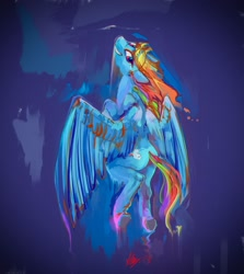 Size: 2893x3246 | Tagged: safe, artist:alumx, rainbow dash, pegasus, pony, blue fast, flying, grin, smiling, solo