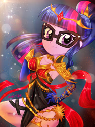 Size: 1800x2400 | Tagged: safe, artist:artmlpk, sci-twi, twilight sparkle, equestria girls, adorable face, adorasexy, adorkable, alternate hairstyle, armor, bare chest, beautiful, black dress, clothes, crown, cute, design, digital art, dork, dress, fantasy, fantasy class, glasses, gloves, hair, hand on hip, hips, jewelry, long gloves, looking at you, regalia, ruby, sexy, side slit, smiling, smiling at you, solo, sunflare, twiabetes, warrior, watermark