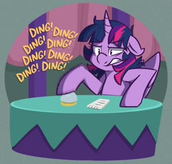 Size: 2016x1926 | Tagged: safe, artist:modularpon, artist:themodpony, twilight sparkle, alicorn, pony, a trivial pursuit, bell, onomatopoeia, solo, twilight sparkle (alicorn)