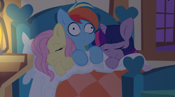 Size: 1144x634 | Tagged: safe, artist:mittsies, fluttershy, rainbow dash, twilight sparkle, pegasus, pony, bed, sleeping, three curious ponies