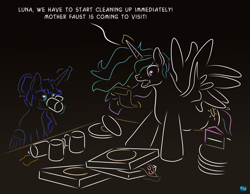 Size: 909x705 | Tagged: safe, artist:quint-t-w, princess celestia, princess luna, alicorn, pony, alternate hairstyle, atg 2020, bags under eyes, cake, chubby, chubbylestia, cup, dishes, dishevelled, drinking, fat, female, flowing mane, food, gradient background, hair bun, hooves on the table, imminent spit take, implied fausticorn, levitation, magic, messy hair, minimalist, modern art, newbie artist training grounds, panic, pizza, pizza box, plate, scroll, shocked, stain, table, talking, telekinesis, wide eyes