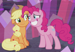 Size: 952x661 | Tagged: safe, screencap, applejack, pinkie pie, hearthbreakers, cheek squish, cropped, cute, diapinkes, duo, floppy ears, jackabetes, sitting, smiling, squishy cheeks