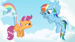 Size: 1280x717 | Tagged: safe, artist:mlplary6, rainbow dash, scootaloo, pegasus, pony, flying, scootaloo can fly, scrunchy face
