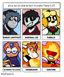 Size: 1080x1313 | Tagged: safe, artist:on.going.crisis, daybreaker, alicorn, dog, elf, pony, anthro, adventure time, animal crossing, anthro with ponies, barley lightfoot, blueberry pie cookie, bust, clothes, cookie run, crossover, female, grin, hat, isabelle, male, mane of fire, mare, marshall lee, onward (movie), peytral, six fanarts, smiling, steven universe, sunglasses, sunstone