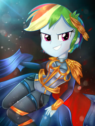 Size: 1800x2400 | Tagged: safe, artist:artmlpk, rainbow dash, equestria girls, adorable face, adorasexy, adorkable, alternate hairstyle, armband, armor, badass, beautiful, belt, crown, cute, dashabetes, design, digital art, dork, fantasy, fantasy class, female, fire, gold, jewelry, looking at you, pixie cut, regalia, sexy, short hair, smiley face, smiling, smiling at you, solo, sunflare, warrior