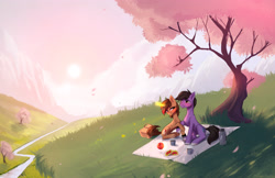Size: 3500x2263 | Tagged: safe, artist:vincher, oc, oc only, earth pony, pony, unicorn, apple, basket, female, food, looking at each other, male, mare, picnic basket, picnic blanket, romantic, scenery, smiling, stallion, thermos, tree