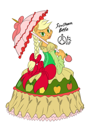 Size: 1075x1500 | Tagged: safe, artist:sepiakeys, applejack, anthro, earth pony, braided ponytail, breasts, busty applejack, clothes, colored, dress, female, gown, lidded eyes, lipstick, looking at you, looking back, looking back at you, mare, sideboob, signature, simple background, smiling, solo, southern belle aj, tomboy taming, umbrella, white background