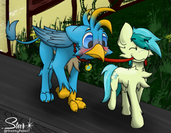 Size: 1037x807 | Tagged: safe, artist:starrypallet, gallus, sandbar, earth pony, griffon, pony, blushing, chest fluff, collar, cute, cutie mark collar, eyes closed, gallabetes, grin, leash, male, mouth hold, pet play, pet tag, sandabetes, smiling, stallion, wings