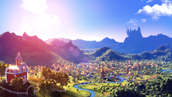 Size: 3840x2160 | Tagged: safe, artist:etherium-apex, 3d, apple, apple tree, blender, blender eevee, canterlot castle, forest, hill, lens flare, no pony, ponyville, river, scenery, scenery porn, sweet apple acres barn, town, town hall, tree