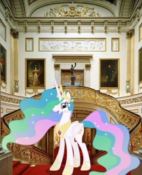 Size: 900x1111 | Tagged: safe, artist:90sigma, artist:princesslunayay, princess celestia, alicorn, pony, buckingham palace, crown, deviantart watermark, ethereal mane, ethereal tail, female, happy, hoof shoes, irl, jewelry, mare, necklace, obtrusive watermark, photo, ponies in real life, railing, regalia, solo, staircase, stairs, watermark