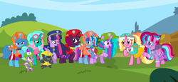Size: 2340x1080 | Tagged: safe, artist:徐詩珮, fizzlepop berrytwist, glitter drops, grubber, luster dawn, spike, spring rain, tempest shadow, twilight sparkle, oc, oc:bubble sparkle, oc:nova sparkle, oc:velvet berrytwist, alicorn, pony, bubbleverse, series:sprglitemplight diary, series:sprglitemplight life jacket days, series:springshadowdrops diary, series:springshadowdrops life jacket days, my little pony: the movie, adopted offspring, alicornified, alternate universe, base used, bisexual, broken horn, chase (paw patrol), clothes, cute, everest (paw patrol), female, glitterbetes, glittercorn, glitterlight, glittershadow, horn, lesbian, lifeguard, lifeguard spring rain, luster dawn is sprglitemplight's daughter, magical lesbian spawn, magical threesome spawn, marshall (paw patrol), mother and child, mother and daughter, multiple parents, next generation, offspring, parent:glitter drops, parent:spring rain, parent:tempest shadow, parent:twilight sparkle, parents:glittershadow, parents:sprglitemplight, parents:springdrops, parents:springshadow, parents:springshadowdrops, paw patrol, polyamory, race swap, shipping, siblings, sisters, skye (paw patrol), sprglitemplight, springbetes, springcorn, springdrops, springlight, springshadow, springshadowdrops, tempestbetes, tempesticorn, tempestlight, tracker (paw patrol), twilight sparkle (alicorn), zuma (paw patrol)