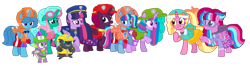 Size: 2340x622 | Tagged: safe, artist:徐詩珮, fizzlepop berrytwist, glitter drops, grubber, luster dawn, spike, spring rain, tempest shadow, twilight sparkle, oc, oc:bubble sparkle, oc:nova sparkle, oc:velvet berrytwist, alicorn, pony, bubbleverse, series:sprglitemplight diary, series:sprglitemplight life jacket days, series:springshadowdrops diary, series:springshadowdrops life jacket days, my little pony: the movie, adopted offspring, alicornified, alternate universe, base used, bisexual, broken horn, chase (paw patrol), clothes, cute, everest (paw patrol), female, glitterbetes, glittercorn, glitterlight, glittershadow, horn, lesbian, lifeguard, lifeguard spring rain, luster dawn is sprglitemplight's daughter, magical lesbian spawn, magical threesome spawn, marshall (paw patrol), mother and child, mother and daughter, multiple parents, next generation, offspring, parent:glitter drops, parent:spring rain, parent:tempest shadow, parent:twilight sparkle, parents:glittershadow, parents:sprglitemplight, parents:springdrops, parents:springshadow, parents:springshadowdrops, paw patrol, polyamory, race swap, shipping, siblings, simple background, sisters, skye (paw patrol), sprglitemplight, springbetes, springcorn, springdrops, springlight, springshadow, springshadowdrops, tempestbetes, tempesticorn, tempestlight, tracker (paw patrol), transparent background, twilight sparkle (alicorn), zuma (paw patrol)