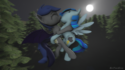 Size: 1280x720 | Tagged: safe, alternate version, artist:batponyecho, oc, oc only, oc:echo, oc:stormy skies, bat pony, pegasus, pony, 3d, bat pony oc, bat wings, commission, cutie mark, duo, eyes closed, female, flying, forest, kissing, lesbian, mare, moon, night, oc x oc, shipping, source filmmaker, spread wings, tail, tree, wings, ych result