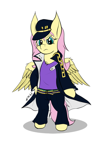 2379826 Safe Artist Wapamario63 Fluttershy Pegasus Pony Badass Bipedal Clothes Cosplay Costume Female Flutterbadass Jojo S Bizarre Adventure Jotaro Kujo Mare Simple Background Solo Transparent Background Wings Derpibooru