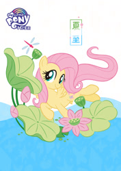 Size: 1080x1527 | Tagged: safe, part of a set, fluttershy, dragonfly, insect, pegasus, pony, official, china, chinese, cute, female, flower, part of a series, pond, shyabetes, simple background, solar term, solo, summer solstice, translated in the comments, white background, xiazhi