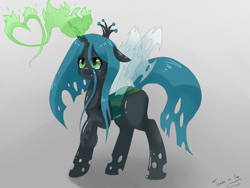 Size: 4000x3000 | Tagged: safe, artist:tomat-in-cup, artist:tomatinacup, queen chrysalis, changeling, changeling queen, nymph, cute, cutealis, female, glowing horn, heart, horn, raised hoof, signature, solo, young