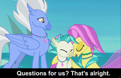 Size: 1905x1233 | Tagged: safe, ocean flow, sky beak, terramar, hippogriff, seapony (g4), comic:celestia's servant interview, surf and/or turf, beak, caption, cs captions, eyes closed, family, father and child, father and son, female, fins, happy, interview, jewelry, male, mother and child, mother and son, necklace, ocean, sky, wings