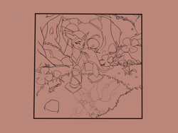 Size: 1600x1200 | Tagged: safe, artist:paranoid_siren, mistmane, rarity, fish, koi, unicorn, bush, cherry blossoms, clothes, ear fluff, floppy ears, flower, flower blossom, grass, horn, horn ring, kimono (clothing), lineart, looking at each other, orchid, pond, raised hoof, redraw, reflection, rock, smiling, stepping stones, tree, wip