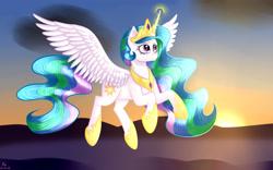 Size: 4000x2500   Tagged: safe, artist:brilliant-luna, princess celestia, alicorn, pony, armor, cloud, crown, dawn, ear fluff, female, flowing mane, flying, fog, high res, jewelry, magic, regalia, solo, sun, tall alicorn
