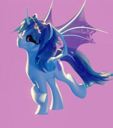 Size: 3641x4096 | Tagged: safe, artist:etherium-apex, oc, oc only, oc:sapphie, alicorn, bat pony, bat pony alicorn, hybrid, 3d, alicorn oc, bat pony oc, bat wings, blender, blender eevee, commission, female, horn, looking at you, mare, raised hoof, simple background, smiling, solo, wings
