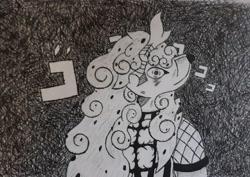 Size: 3729x2647 | Tagged: safe, artist:cello-horse, oc, oc only, oc:pepper, anthro, kirin, diavolo, ink drawing, jjba, jojo's bizarre adventure, kirin oc, lost in thought, menacing, solo, traditional art
