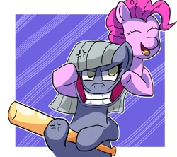 Size: 1280x1138 | Tagged: safe, artist:zeronixma, limestone pie, pinkie pie, earth pony, pony, atg 2020, baseball bat, cross-popping veins, female, mare, newbie artist training grounds, smiling, this will end in pain