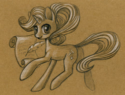 Size: 999x755 | Tagged: safe, artist:maytee, starlight glimmer, pony, unicorn, female, looking at you, mare, monochrome, quill, scroll, side view, smiling, solo, traditional art