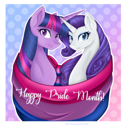 Size: 2048x2048 | Tagged: safe, artist:wolfpaintruth, rarity, twilight sparkle, alicorn, unicorn, bilight sparkle, bisexual pride flag, female, lesbian, pride, pride flag, rarilight, shipping, text, twilight sparkle (alicorn)
